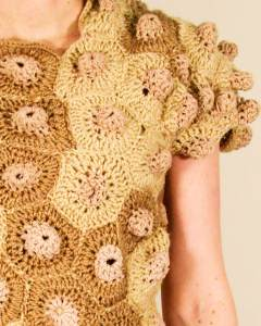 "Carie Musick, ""My New Skin,"" 2012 – 2015, Collaged and crocheted cotton, Dimensions variable"